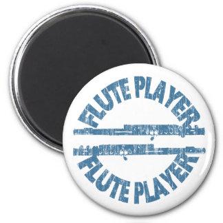Flute Player 6 Cm Round Magnet