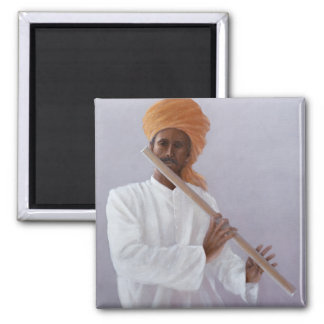 Flute Player Square Magnet