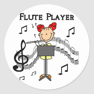 Flute Player T-shirts and Gifts Classic Round Sticker