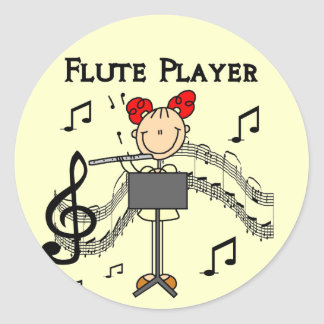 Flute Player T-shirts and Gifts Round Sticker