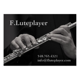 flute player's hands on flute pack of chubby business cards