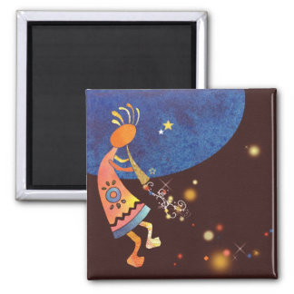 Flute-Playing Kokopelli Square Magnet