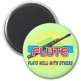 Flute Plays Well 6 Cm Round Magnet
