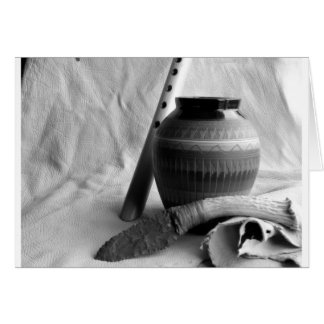 flute, pottery and knife greeting card