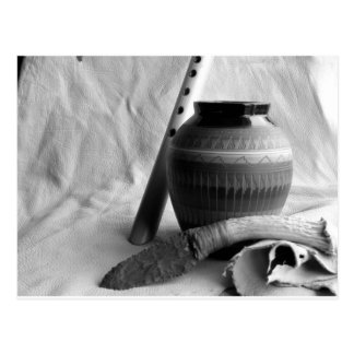 flute, pottery and knife postcard