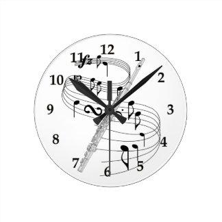 Flute Round Clock