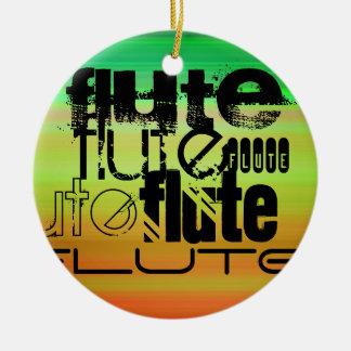 Flute; Vibrant Green, Orange, & Yellow Round Ceramic Decoration
