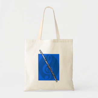 Flute with Blue Treble Clef Background Budget Tote Bag