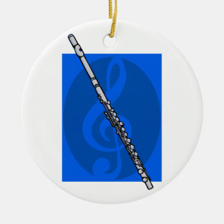 Flute with Blue Treble Clef Background Christmas Ornament