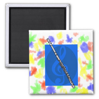 Flute with Blue Treble Clef Background Magnet