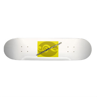 Flute with yellow treble clef design image 19.7 cm skateboard deck