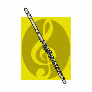 Flute with yellow treble clef design image photo cut out