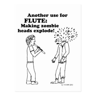 Flute Zombie Explode Post Card