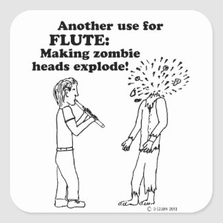 Flute Zombie Explode Stickers