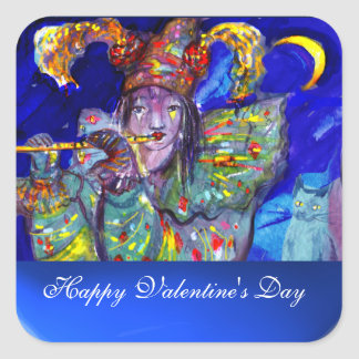 FLUTIST IN BLUE / Valentine Masquerade Square Sticker