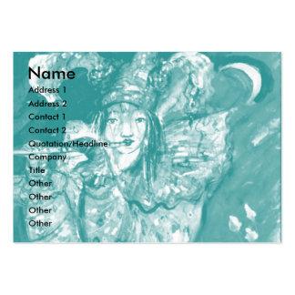 FLUTIST IN BLUE / Venetian Carnival Night Business Card Template