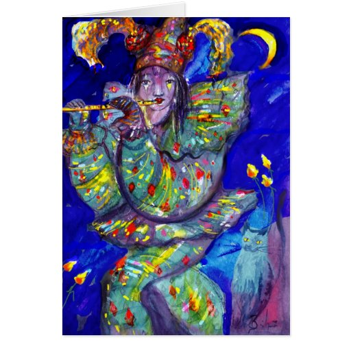 FLUTIST IN BLUE / Venetian Carnival Night Greeting Card