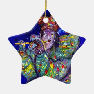 FLUTIST IN BLUE / Venetian Carnival Night Christmas Ornaments