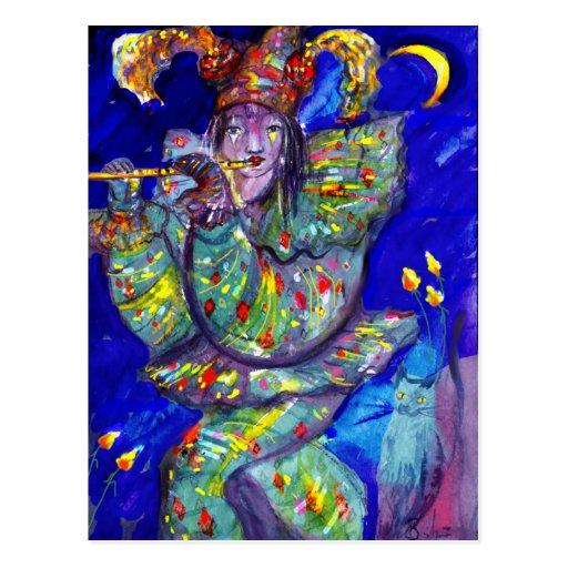 FLUTIST IN BLUE / Venetian Carnival Night Postcards