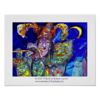 FLUTIST IN BLUE / Venetian Carnival Night Poster