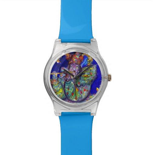 FLUTIST IN BLUE / Venetian Carnival Night Wristwatch