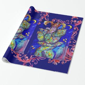 FLUTIST IN BLUE  / Venetian Carnival Night Wrapping Paper