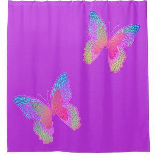 Flutter-byes (violet) shower curtain