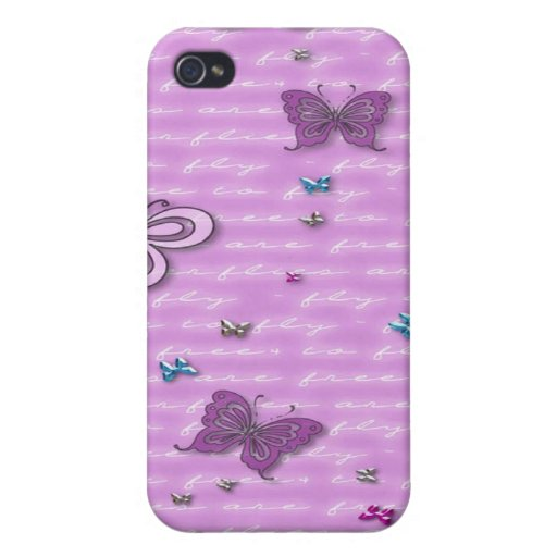 Flutterbies are Free to Fly Cases For iPhone 4