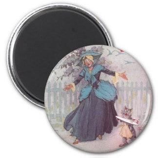 Flutterbudget and a Cat Vintage Oz 6 Cm Round Magnet
