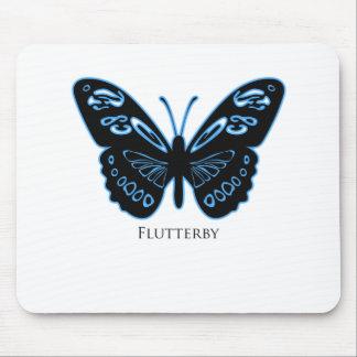 Flutterby Black Blue Glow Mouse Mat