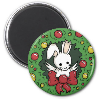 Flutterby bunny wreath - Holiday magnet
