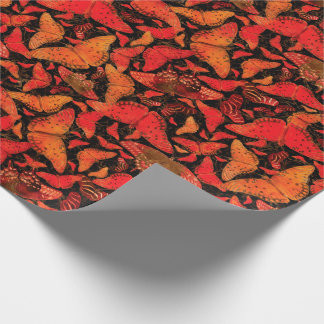 Flutterby Fall Butterflies on Black Wrapping Paper