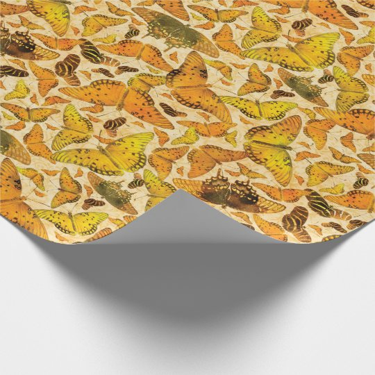 Flutterby Fall Butterflies Yellow Orange Wrapping Paper