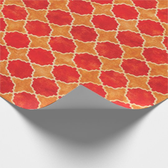 Flutterby Fall Geometric Red Wrapping Paper