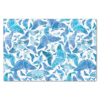 Flutterby Winter Blue Butterflies Tissue Paper