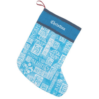 Flutterby Winter Verse Blue Add Name Small Christmas Stocking