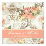 Flutterbyes 'n Roses Elegant Wedding 13 Cm X 13 Cm Square Invitation Card