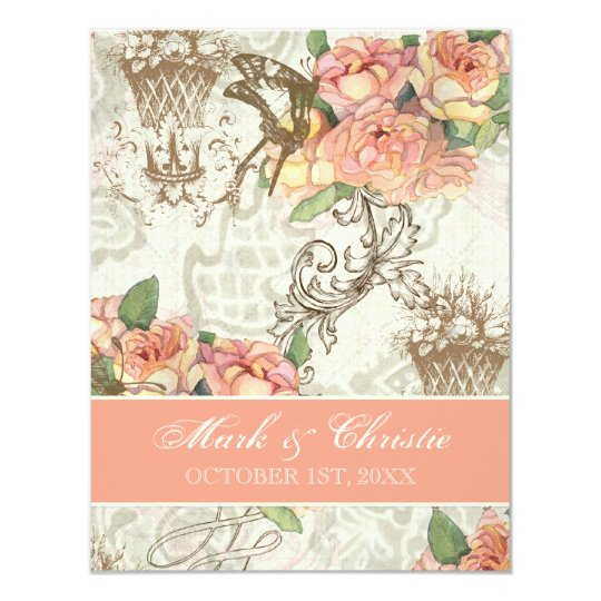 Flutterbyes 'n Roses Elegant Wedding Invitation