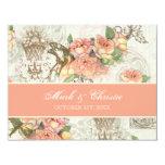 Flutterbyes 'n Roses Elegant Wedding RSVP Card 11 Cm X 14 Cm Invitation Card