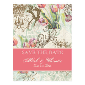 Flutterbyes 'n Tulips Elegant Save The Date Card Post Cards