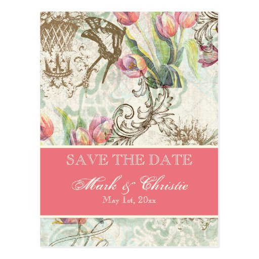 Flutterbyes 'n Tulips Elegant Save The Date Card Post Cards