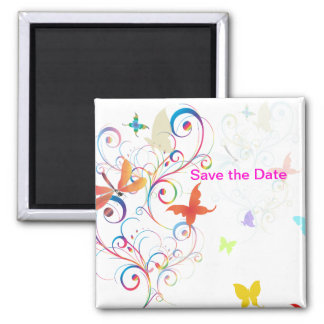 Fluttering by 2, save date dragonflies+butterflies square magnet