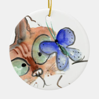 Fluttering Curiosity is Flying Past Kitten Round Ceramic Decoration