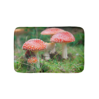 Fly-Agaric In A Forest, Closeup Photo Bath Mats