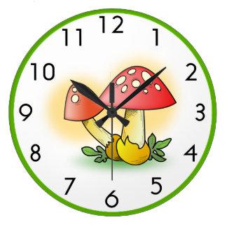 Fly Amanita Muscaria Mushrooms Personalized Large Clock