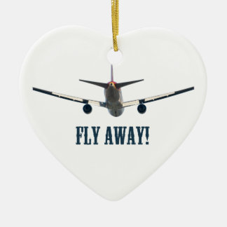 Fly away airplane ceramic heart decoration