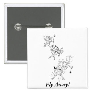 Fly Away Fairies - Button 2 Inch Square Button