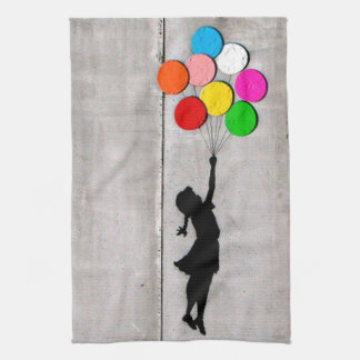Fly Away Little Girl Graffiti Art Dish Towel