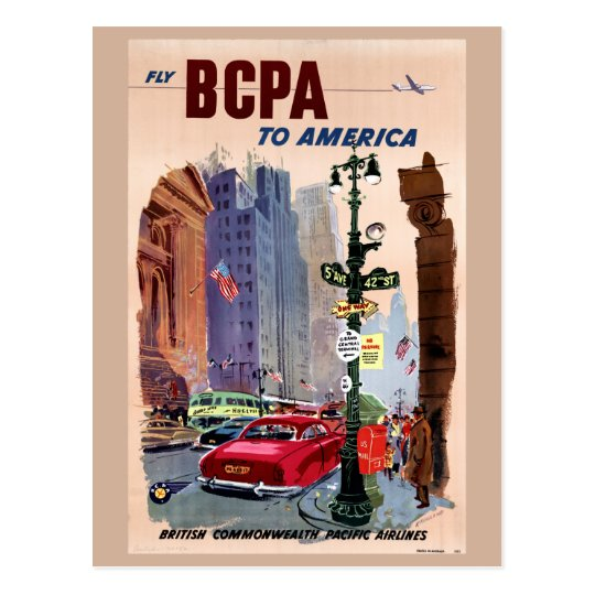 Fly BCPA to America Vintage Poster Restored Postcard