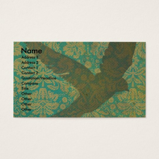 Fly, Bird on Vintage Wallpaper Digital Art Business Card